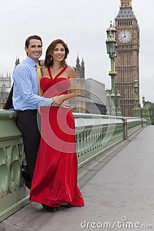 Romantic Couple by Big Ben, London, England