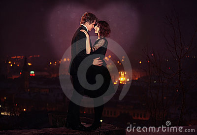 Romantic Couple on City Night Scene