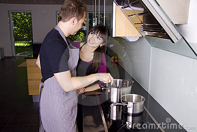 Romantic couple cooking