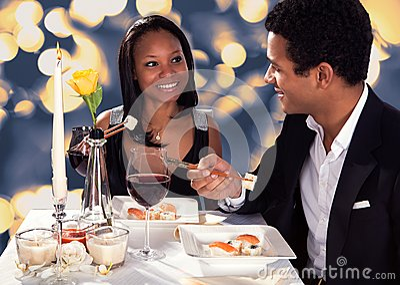 Romantic Couple Eating Sushi