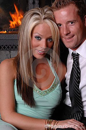Romantic couple fireplace close