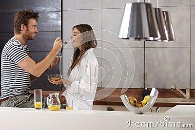 Romantic couple having breakfast