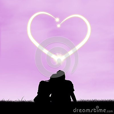 Romantic couple with heart symbol