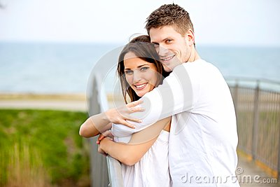 Romantic Couple Hugging in the Park