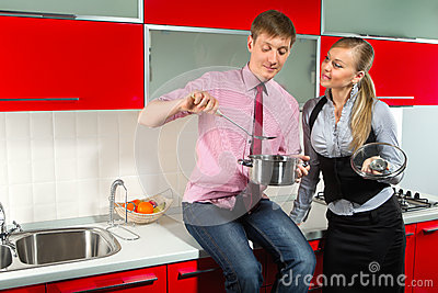 Romantic couple at kitchen