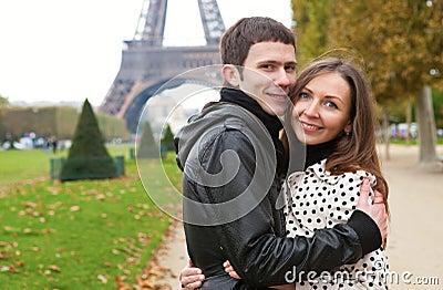 Romantic couple near the Eiffel Tower