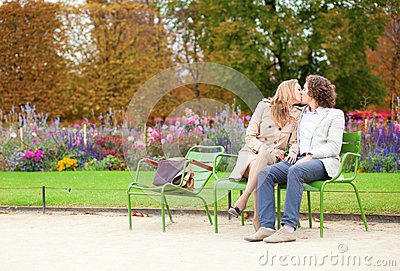 Romantic couple in a park at fall