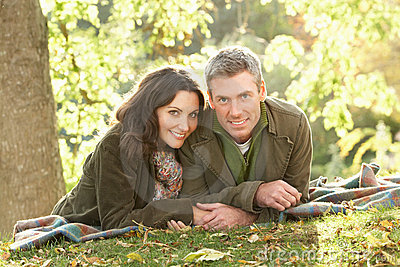 Romantic Couple Relaxing Outdoors