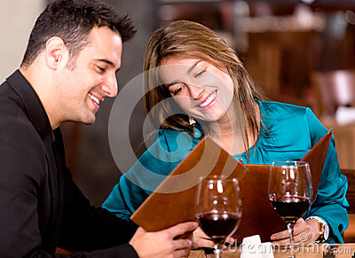 Romantic couple at a restaurant