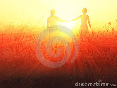 Romantic couple at sunrise