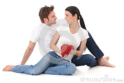 Romantic couple at Valentine s day smiling