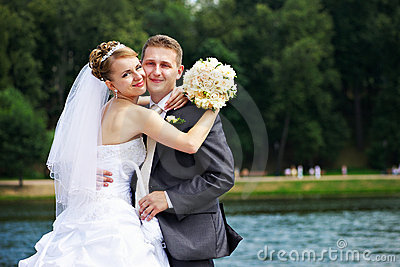 Romantic couples at wedding walk