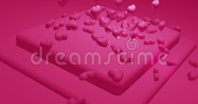 Pink cute falling polygonal hearts. Valentines Day. event background. 3D rendering loopable animation 4k. Romantic cute falling polygonal hearts. Valentines Day stock footage
