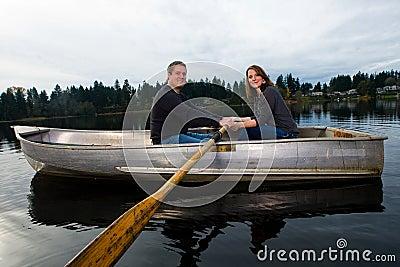 Romantic date in a boat