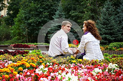 Romantic date in the flower park