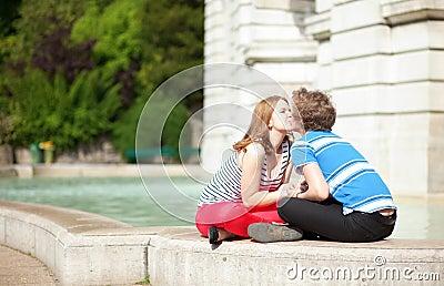 Romantic dating couple kissing