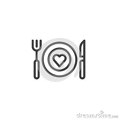 Free Romantic Dinner Line Icon Stock Photo - 107550740