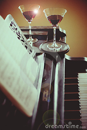 Romantic dinner with piano music and wine