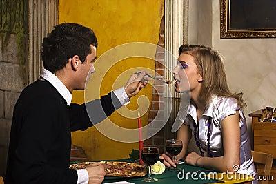 Romantic dinner in pizzeria