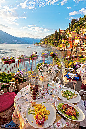 Free Romantic Dinner Scene Of Plated Italian Food On Terrace Overlook Royalty Free Stock Photo - 32246115