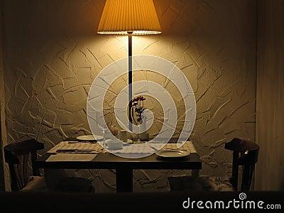 Romantic dinner table for couple served restaurant