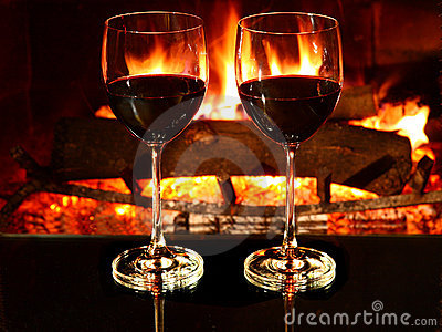 Romantic dinner, wine, fireplace