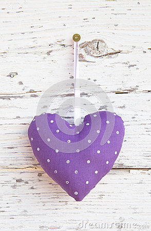 Free Romantic Dotted Heart Shape Hanging Above White Wooden Surface O Royalty Free Stock Image - 35002346