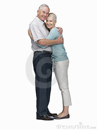 Romantic elderly couple embracing eachother