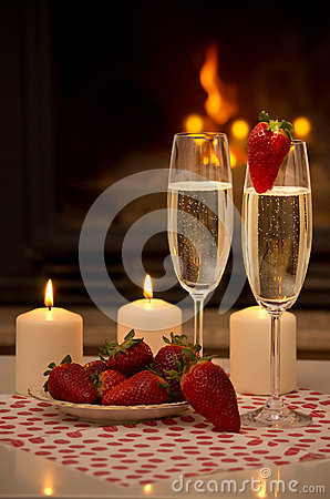 Romantic Evening By The Fireplace Stock Photo Image