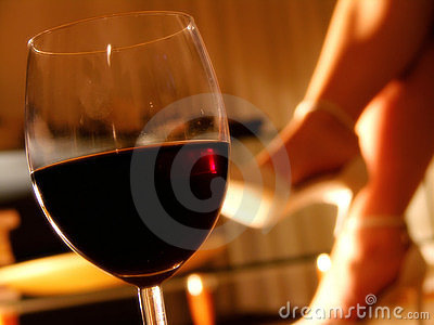 Romantic evening with a glass of wine