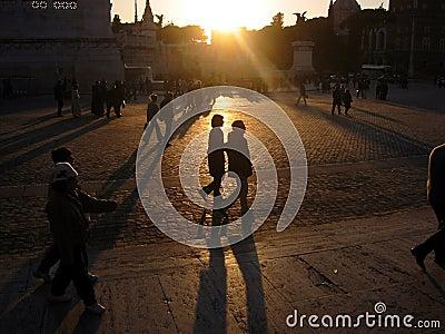 Romantic evening in Piazza Venezia, Rome