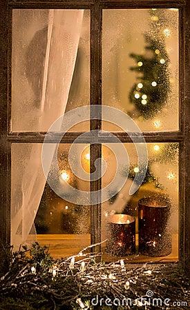 Free Romantic Evening Winter Scene With Old Window Stock Image - 142313821