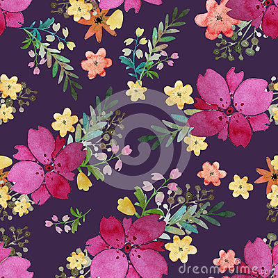 Free Romantic Floral Seamless Pattern With Rose Flowers And Leaf. Print For Textile Wallpaper Endless. Hand-drawn Watercolor Royalty Free Stock Images - 80386879
