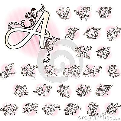 Romantic French retro alphabet