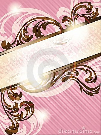 Romantic French retro banner, vertical