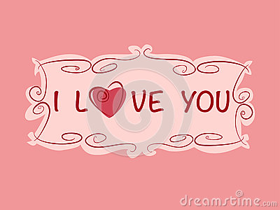 Romantic gift card with heart and love text in vintage style. Vector ...