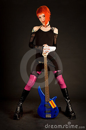 Romantic girl with bass guitar