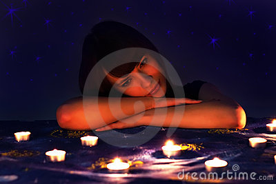 Romantic girl and candles