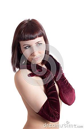 Romantic girl in gloves