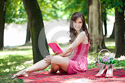 Romantic girl on picnic