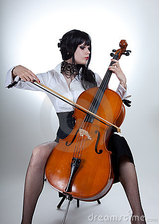 Romantic girl playing cello
