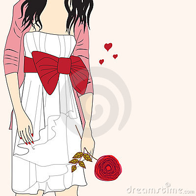 Romantic girl with rose