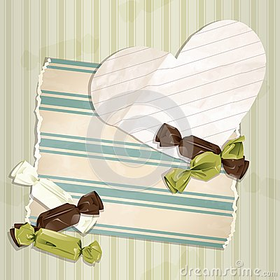 Romantic green vintage illustration with candies