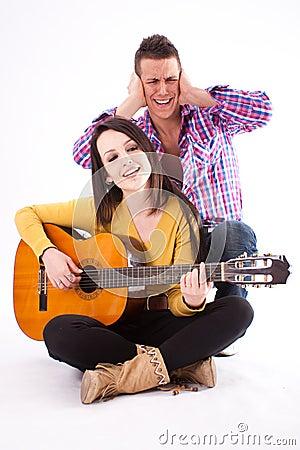 Romantic guitar couple