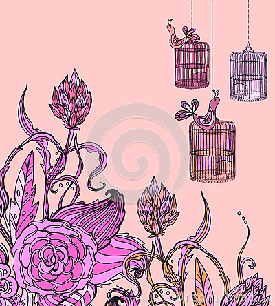 Romantic hand drawn floral card wirh bird and cage