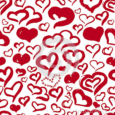 Free Romantic Hand Drawn Red Hearts Cute Seamless Pattern For Valentine Day On White Background For Banners, Wrapping Royalty Free Stock Images - 85405239