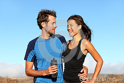 Romantic healthy athletic couple