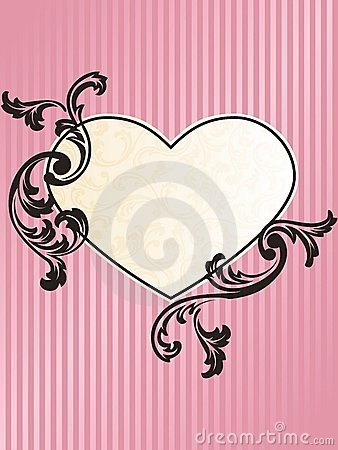 Romantic heart-shaped French retro frame in pink