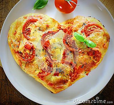 Free Romantic Heart Shaped Italian Pizza Royalty Free Stock Image - 30654886