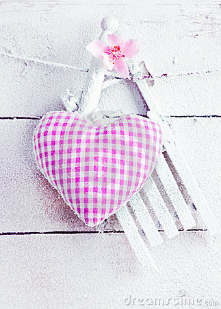 Romantic Heart On snowy Boards